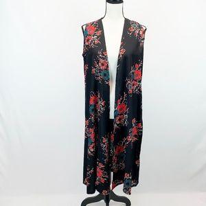LuLaRoe  Joy Black Floral Vest Duster